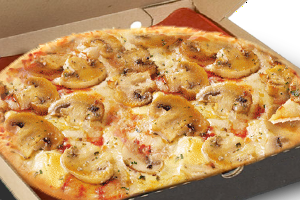 pizza with mushrooms and mixture of semi - hard cheeses