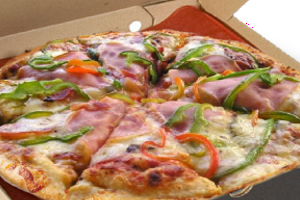 pizza special contains mixture of semi - hard cheese, ham, bacon and chopped green peppers and mushrooms