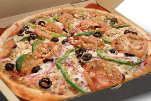 vegeterian pizza with chopped green peppers, tomatoes, onions, olives, mushrooms, corn and mixture of semi - hard cheese
