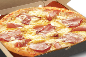 pizza with ham, bacon and mixture of semi - hard cheese