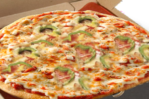 pizza with ham, chopped green peppers and mixture of semi - hard cheese