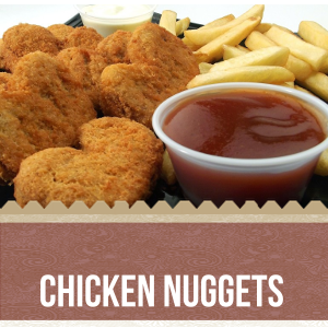 contains 10 chicken nugget  pieces, one serving fried potatoes and 2 dip sause