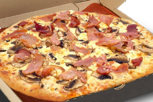 pizza with mixture of semi - hard cheese, bacon and mushrooms