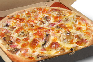 pizza carbonara contains mixture of semi - hard cheese, cream 20% fat , bacon and mushrooms
