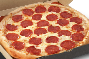 pizza with pepperoni slices and mixture of semi - hard cheese